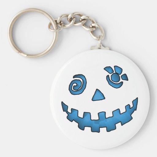 Crazy Jack O Lantern Pumpkin Face Blue Basic Round Button Keychain