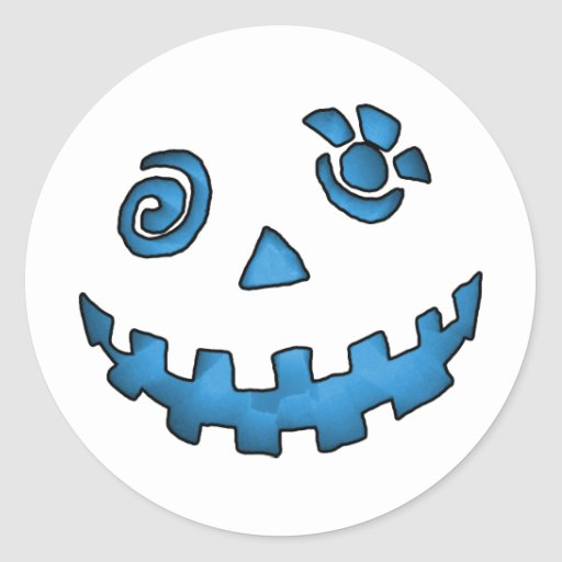 Crazy Jack O Lantern Pumpkin Face Blue Classic Round Sticker