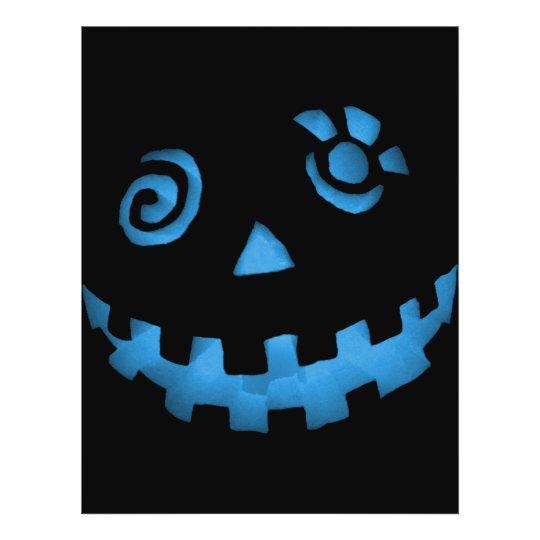 Crazy Jack O Lantern Pumpkin Face Blue Flyer