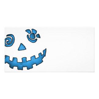 Crazy Jack O Lantern Pumpkin Face Blue Personalized Photo Card