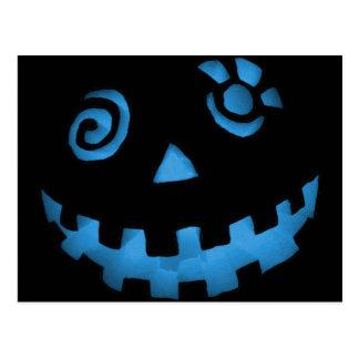 Crazy Jack O Lantern Pumpkin Face Blue Postcard