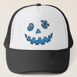Crazy Jack O Lantern Pumpkin Face Blue Trucker Hat