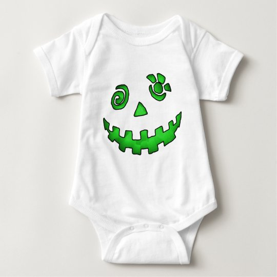 Crazy Jack O Lantern Pumpkin Face Green Baby Bodysuit
