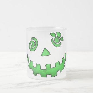Crazy Jack O Lantern Pumpkin Face Green Frosted Glass Coffee Mug