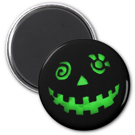 Crazy Jack O Lantern Pumpkin Face Green Magnet