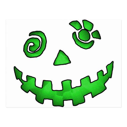 Crazy Jack O Lantern Pumpkin Face Green Postcard