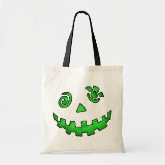 Crazy Jack O Lantern Pumpkin Face Green Tote Bag