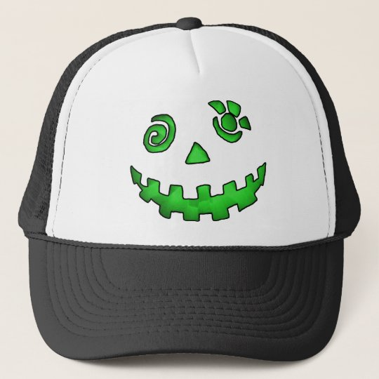 Crazy Jack O Lantern Pumpkin Face Green Trucker Hat
