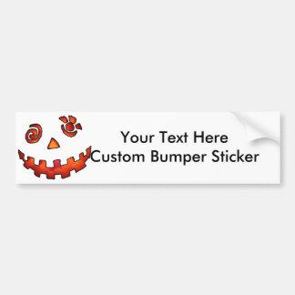 Crazy Jack O Lantern Pumpkin Face Orange Car Bumper Sticker