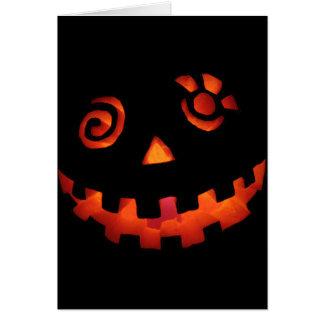 Crazy Jack O Lantern Pumpkin Face Orange Greeting Card
