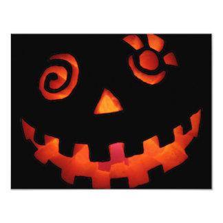 Crazy Jack O Lantern Pumpkin Face Orange 4.25x5.5 Paper Invitation Card