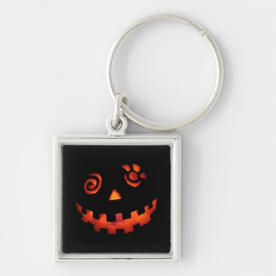 Crazy Jack O Lantern Pumpkin Face Orange Keychain