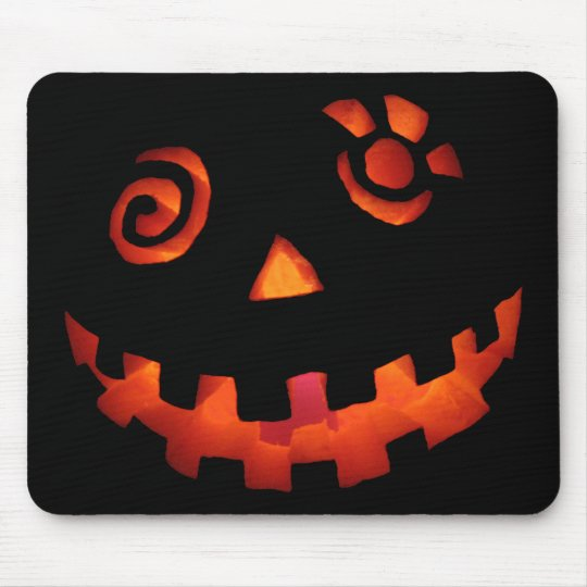 Crazy Jack O Lantern Pumpkin Face Orange Mouse Pad