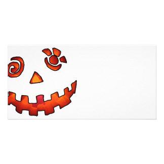 Crazy Jack O Lantern Pumpkin Face Orange Personalized Photo Card
