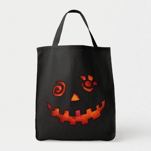 Crazy Jack O Lantern Pumpkin Face Orange Tote Bag