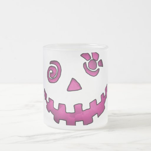 Crazy Jack O Lantern Pumpkin Face Pink Frosted Glass Coffee Mug