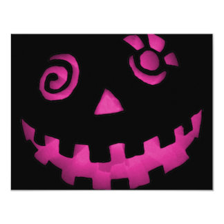 Crazy Jack O Lantern Pumpkin Face Pink Personalized Announcement