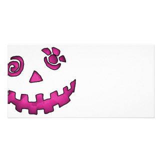 Crazy Jack O Lantern Pumpkin Face Pink Photo Greeting Card