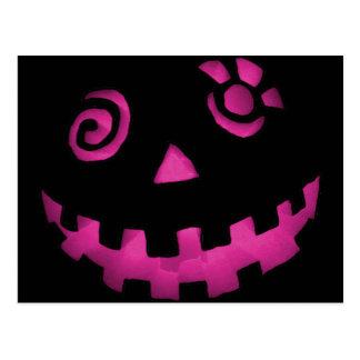 Crazy Jack O Lantern Pumpkin Face Pink Postcard