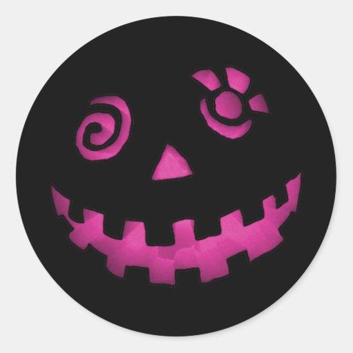 Crazy Jack O Lantern Pumpkin Face Pink Round Stickers