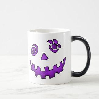 Crazy Jack O Lantern Pumpkin Face Purple 11 Oz Magic Heat Color-Changing Coffee Mug
