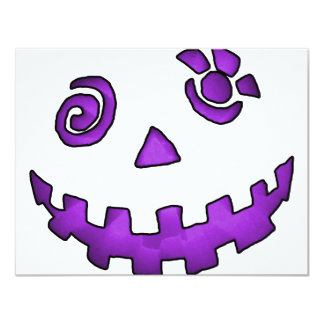 Crazy Jack O Lantern Pumpkin Face Purple Personalized Invite
