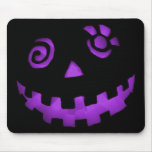 Crazy Jack O Lantern Pumpkin Face Purple Mouse Pad