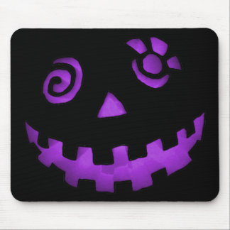 Crazy Jack O Lantern Pumpkin Face Purple Mouse Pad