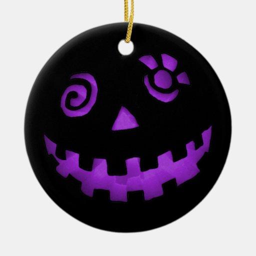 Crazy Jack-O-Lantern Pumpkin Face Purple Christmas Tree Ornament