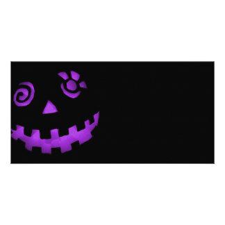 Crazy Jack O Lantern Pumpkin Face Purple Personalized Photo Card