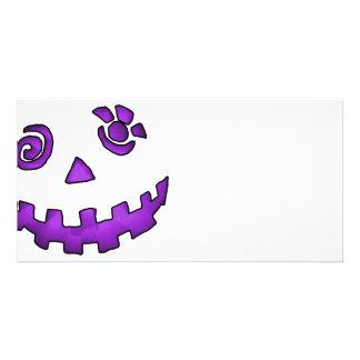 Crazy Jack O Lantern Pumpkin Face Purple Photo Greeting Card