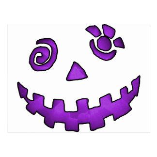 Crazy Jack O Lantern Pumpkin Face Purple Postcard