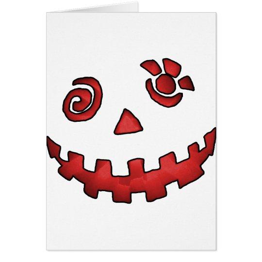 Crazy Jack O Lantern Pumpkin Face Red Card