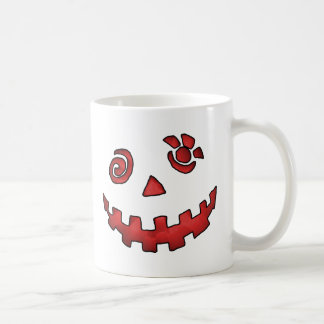 Crazy Jack O Lantern Pumpkin Face Red Coffee Mug