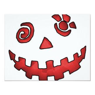 Crazy Jack O Lantern Pumpkin Face Red Custom Invites