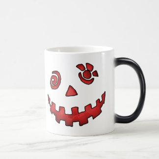 Crazy Jack O Lantern Pumpkin Face Red Magic Mug