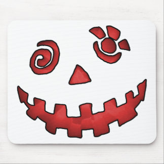 Crazy Jack O Lantern Pumpkin Face Red Mouse Pad