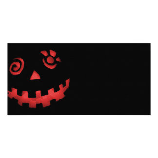Crazy Jack O Lantern Pumpkin Face Red Personalized Photo Card