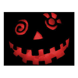 Crazy Jack O Lantern Pumpkin Face Red Postcard