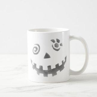 Crazy Jack O Lantern Pumpkin Face White Gray Coffee Mug