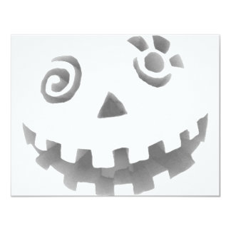 Crazy Jack O Lantern Pumpkin Face White Gray Custom Invitations