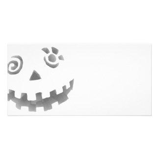Crazy Jack O Lantern Pumpkin Face White Gray Photo Card