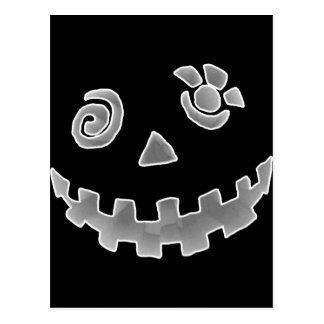 Crazy Jack O Lantern Pumpkin Face White Gray Postcard
