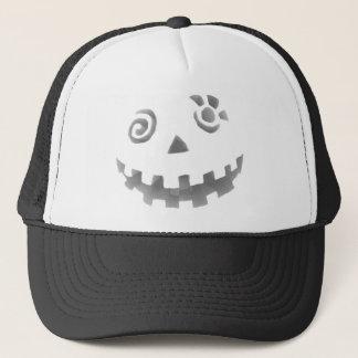 Crazy Jack O Lantern Pumpkin Face White Gray Trucker Hat