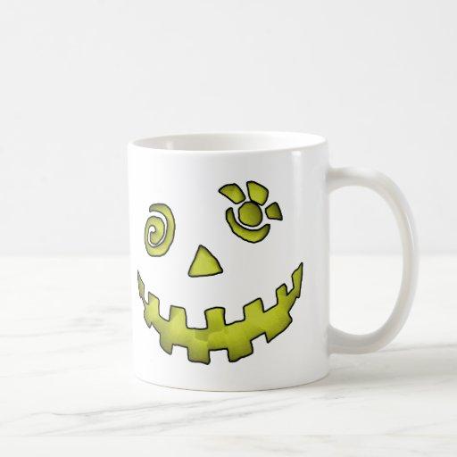 Crazy Jack O Lantern Pumpkin Face Yellow Coffee Mug