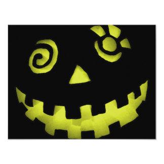 Crazy Jack O Lantern Pumpkin Face Yellow Personalized Invite