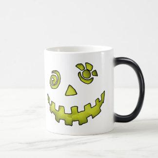 Crazy Jack O Lantern Pumpkin Face Yellow Magic Mug