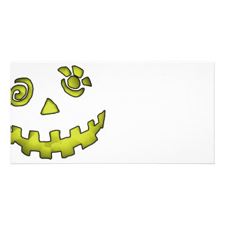 Crazy Jack O Lantern Pumpkin Face Yellow Photo Card
