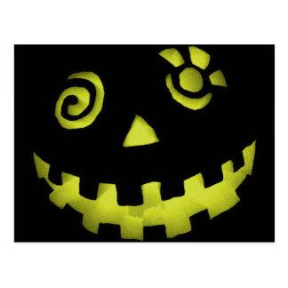 Crazy Jack O Lantern Pumpkin Face Yellow Postcard