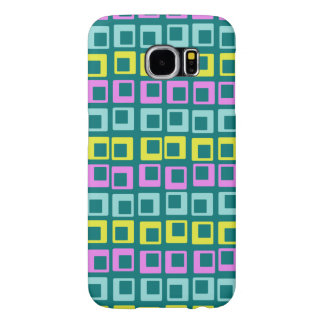 Crazy jumping retro vintage squares on cyan samsung galaxy s6 case